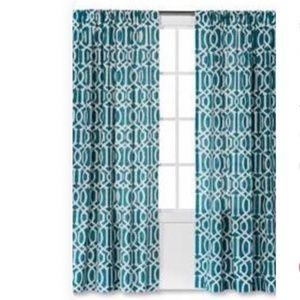 PAIR Threshold Teal Farrah Lattice Curtains 54x108